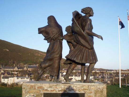Photograph of Replica of Helmsdale Memorial 'The Emigrants' Heading For Canada