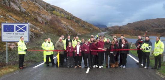 Photograph of Ceremony marks opening of A838 Laxford Bridge North approach road
